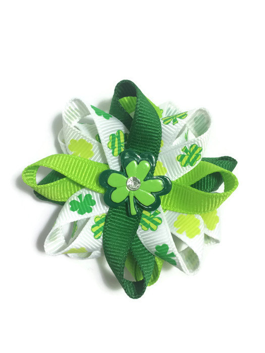 St Patricks Day shamrock Hair Bows