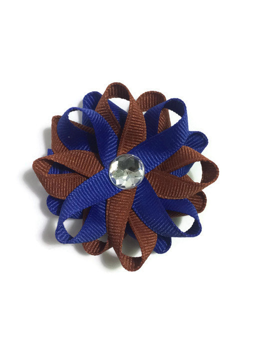 Royal Blue Bronze Hair Bows