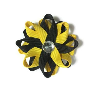 Yellow Black handmade Hair Bows
