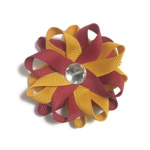 Gold Scarlet Red Hair Bows