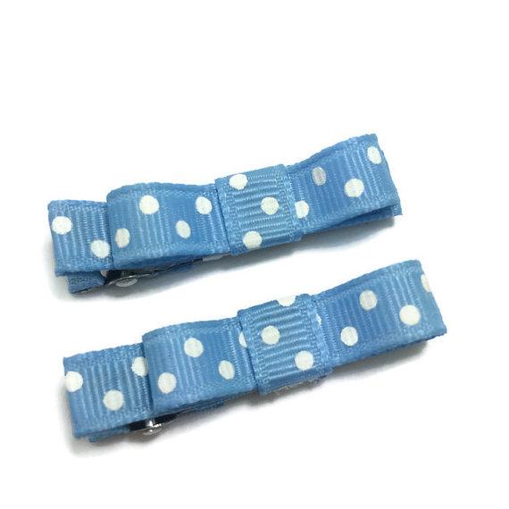 Blue Dots Tuxedo hair bows