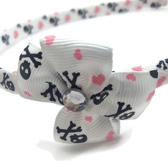 Skulls Hearts Pinwheel Bow Headband