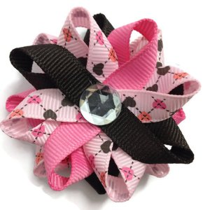 pink Valentines Day Hearts Hair Bows