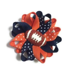 Navy Orange Football Hair Bows