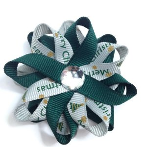 Green Merry Christmas Hair Bows