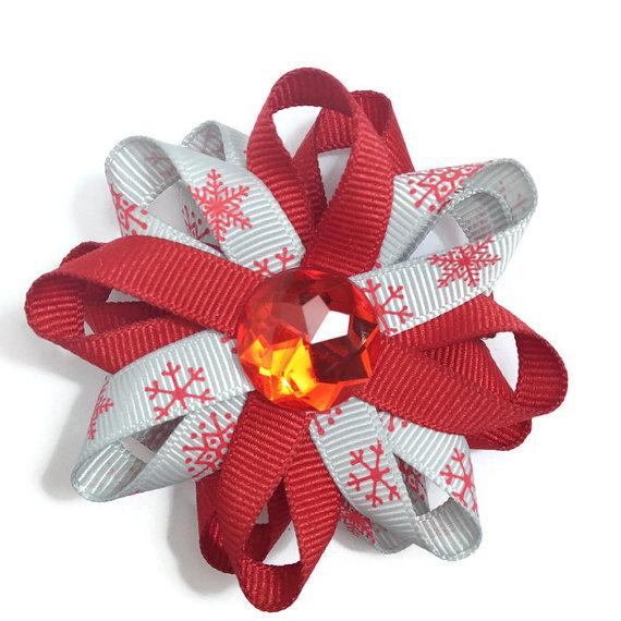 Red Snowflake handmade Hair Bows