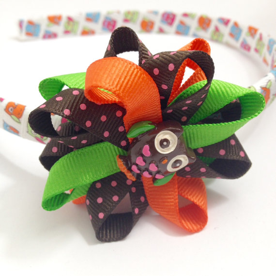 Owl Thanksgiving Hair Bow Headband