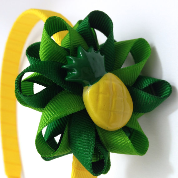 Pineapple Hair Bow Headband