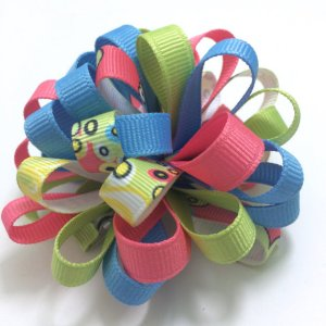Paisley Flower Puff Loopy Hair Bow