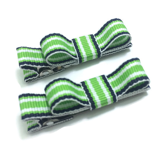 navy green stripe tuxedo hair bows