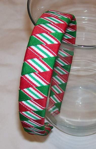 Christmas stripes woven headband