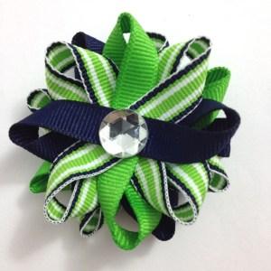 Green Navy Stripes Hair Bows
