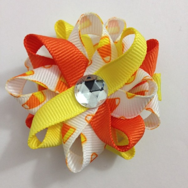 Candy Corn handmade Hair Bows