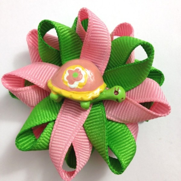 Pink green Turtle Hair Bows
