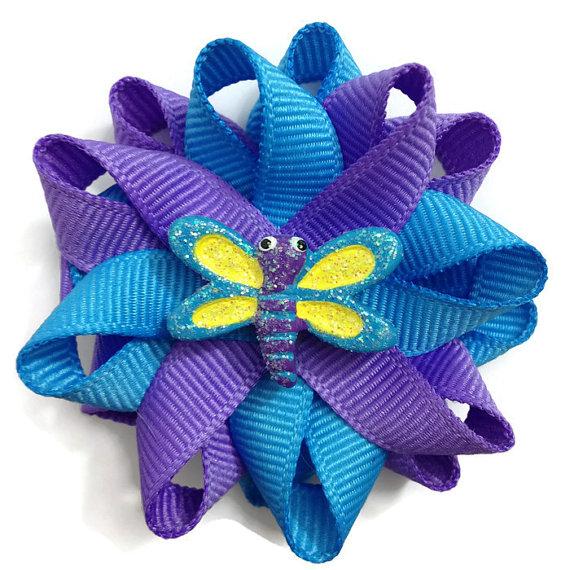 blue purple dragonfly hair bows