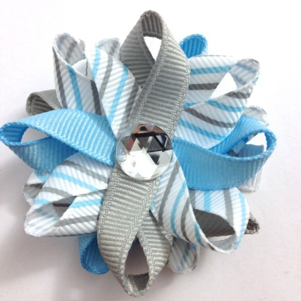 light blue silver stripe hair bows