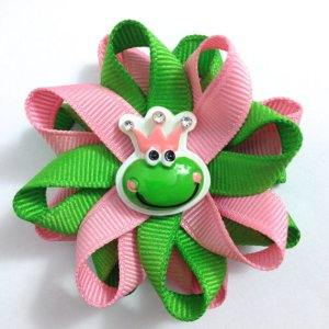 green pink Frog Princess Hair Bows