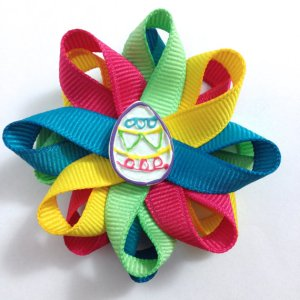 rainbow Easter egg hair bows