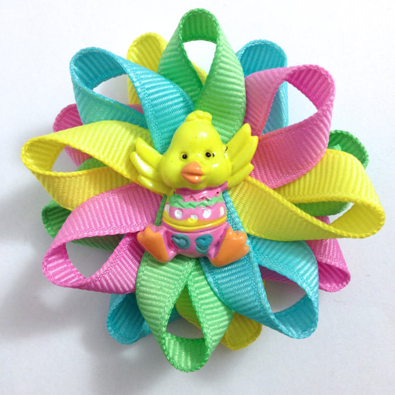 pastel Easter Chick Hair Bows