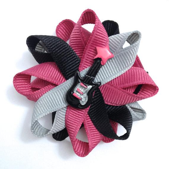 guitar music handmade hair bows