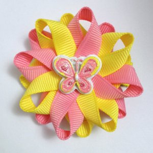 Yellow rose butterfly hair bows
