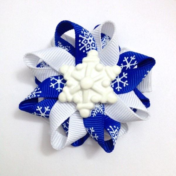 Royal Blue Snowflake Hair Bows