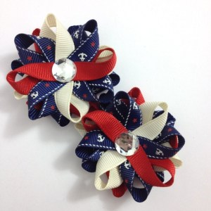 navy nautical anchor hair bows