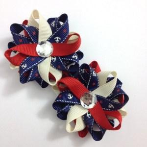 navy nautical anchor hair bows