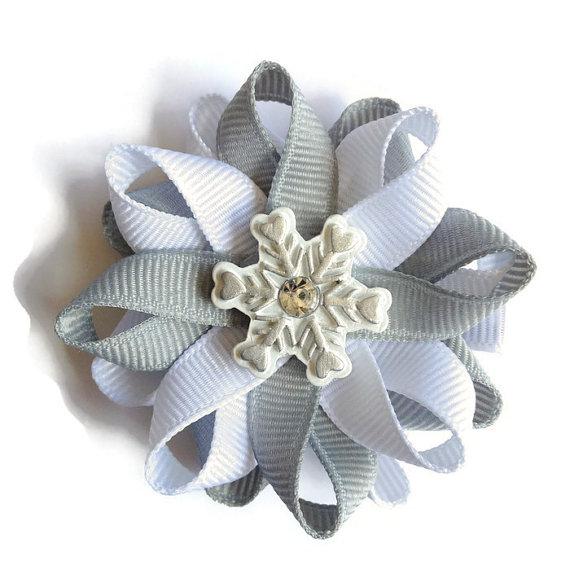 Silver Snowflake Hair Bows