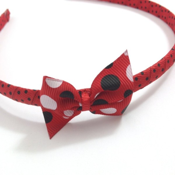 Red Black Dots Pinwheel Bow Headband