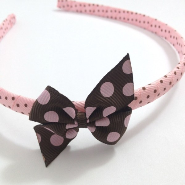 Brown Pink Dots Pinwheel Bow Headband