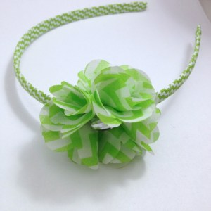 Apple Green Chevron Stripe Flower Headband