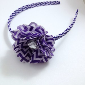 Purple Chevron Stripe Flower Headband