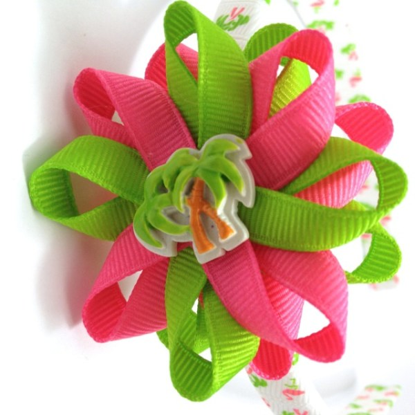 Palm Trees Flamingos Hair Bow Headband