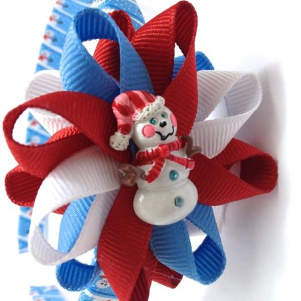 Snowman Hair Bow Headband