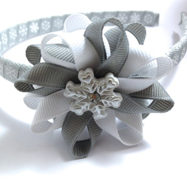 Snowflake Hair Bow Headband