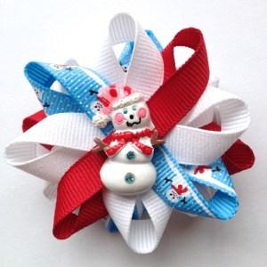 Blue Snowman winter Hair Bows