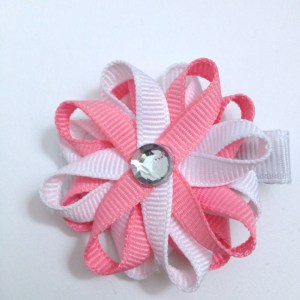 Pink White loopy Hair Bows