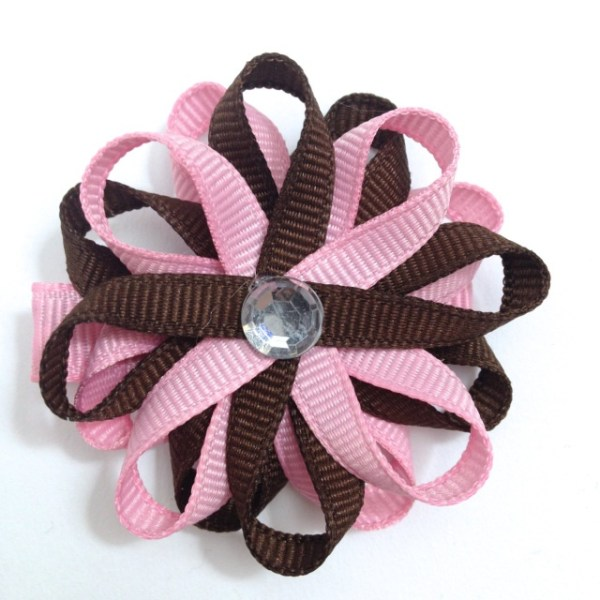 Brown, Pink handmade Hair Bow