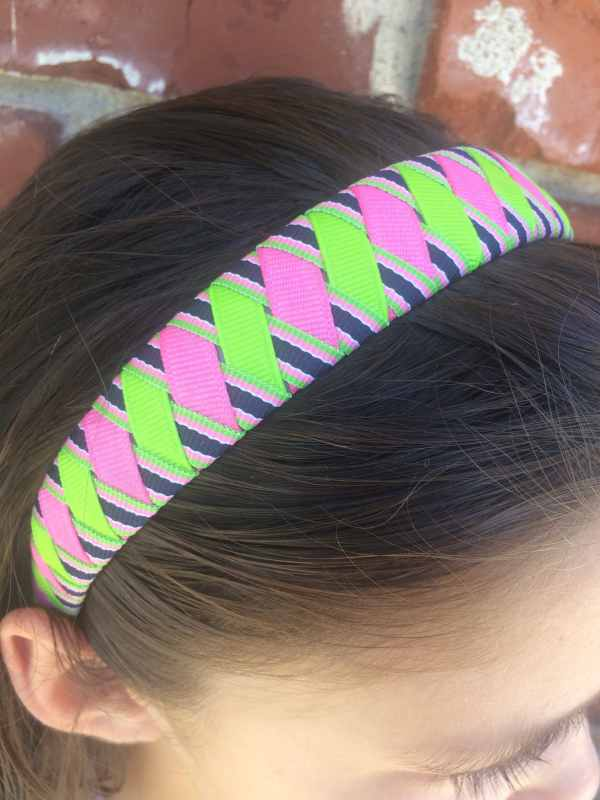 Pink Green Navy Stripe Woven Headband