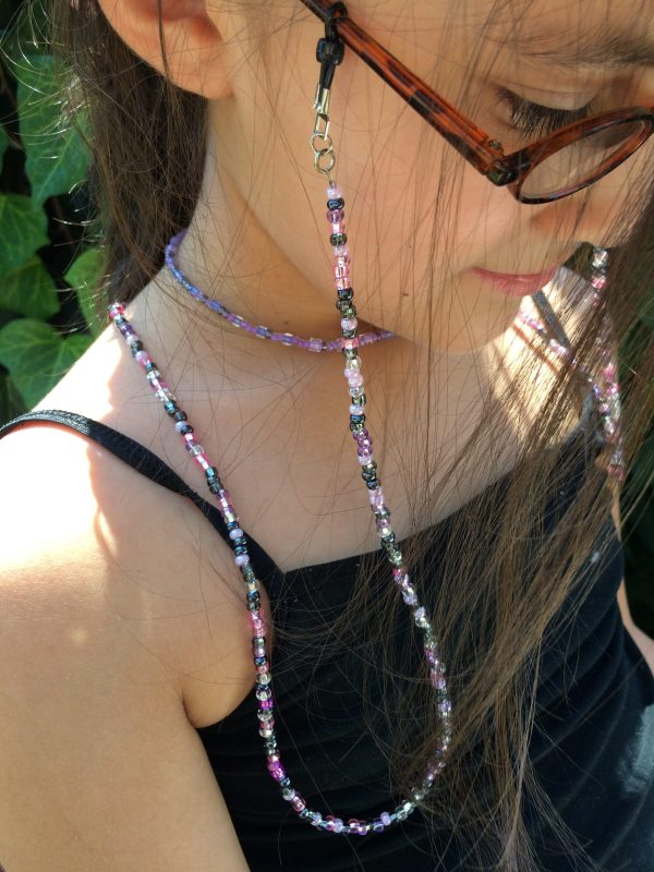 Pink Purple beaded eyeglass holder