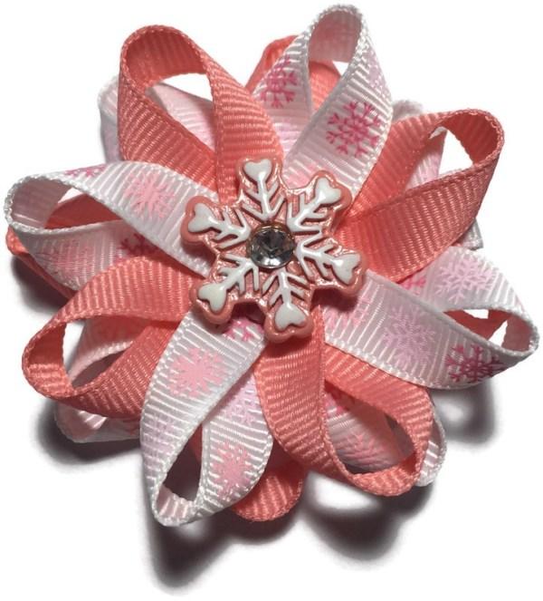 Pink Snowflake Handmade Hair Bow