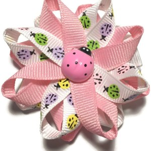 Pink Ladybug Handmade Hair Bow