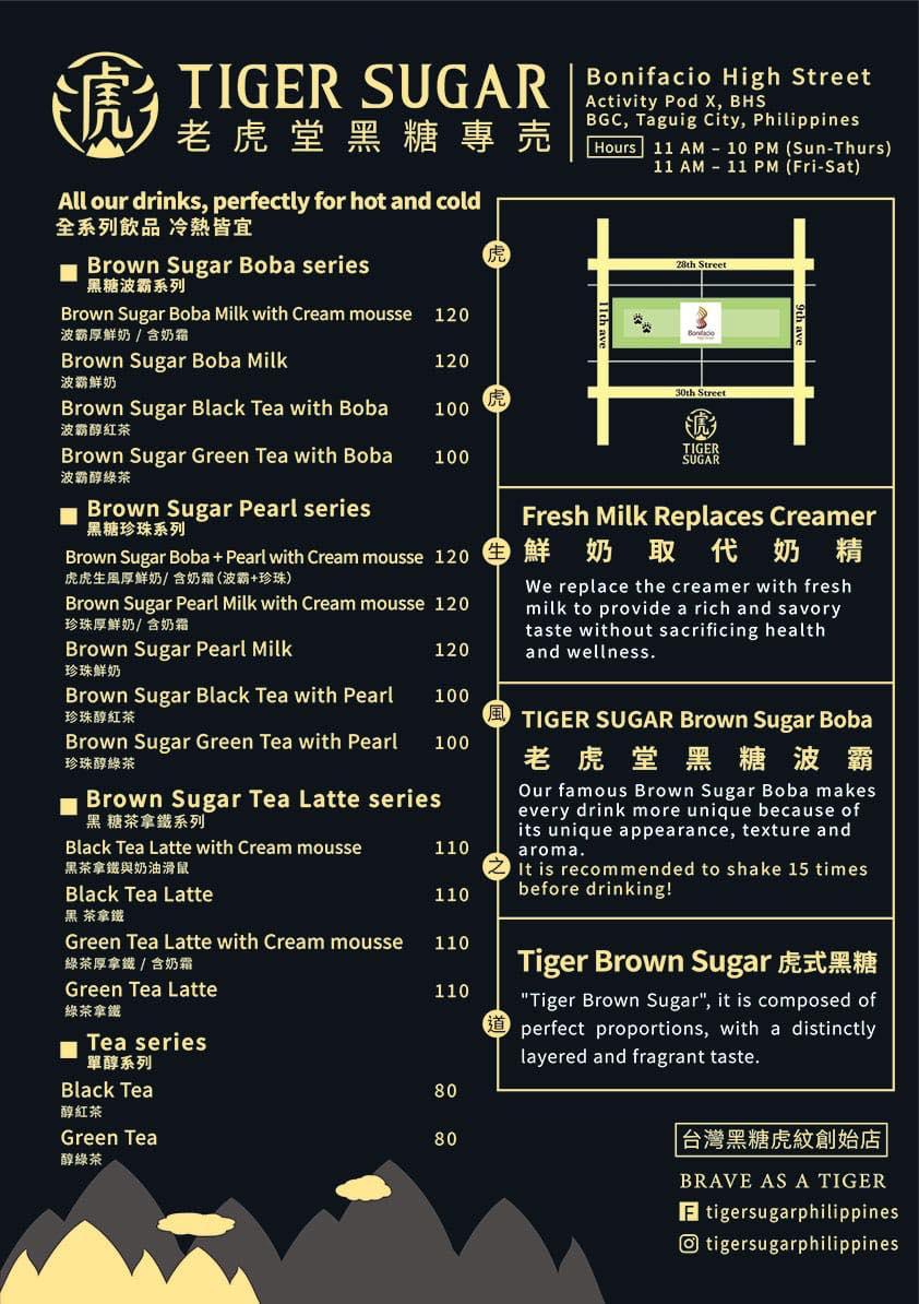 tiger sugar menu