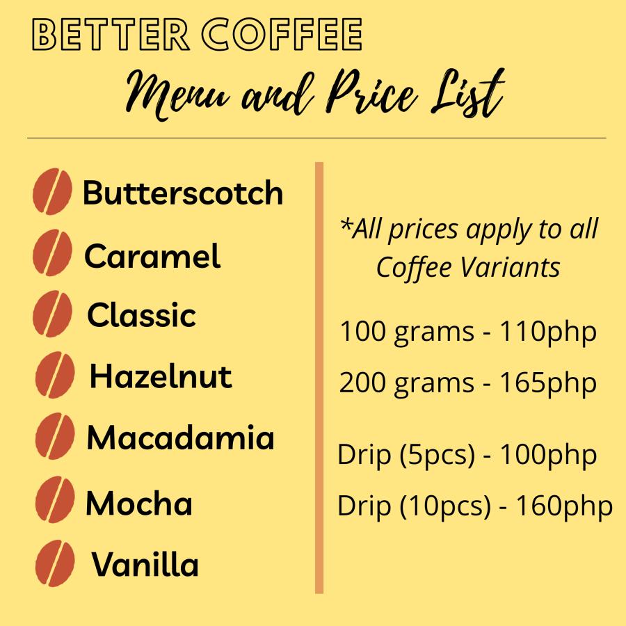 Better Coffee Menu