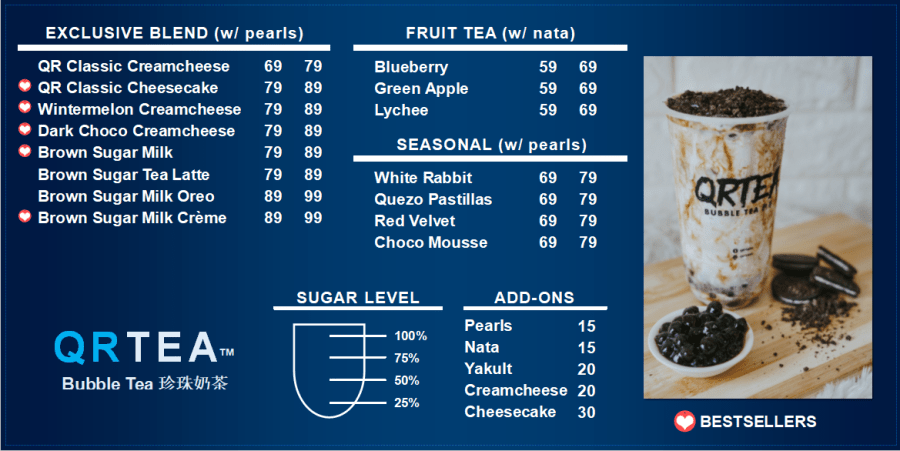 QRTEA Bubble Tea Pricelist