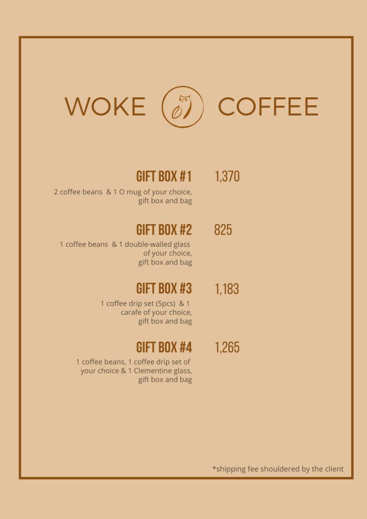 Woke Coffee Gift Box Menu