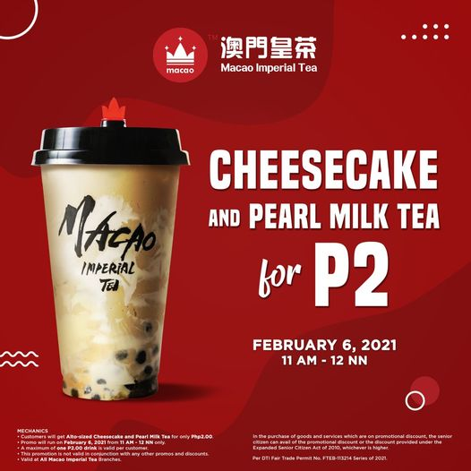 Cheesecake and Pearl Milk Tea for only 2 pesos
