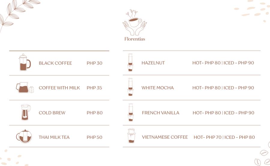 Florentias Coffee Menu