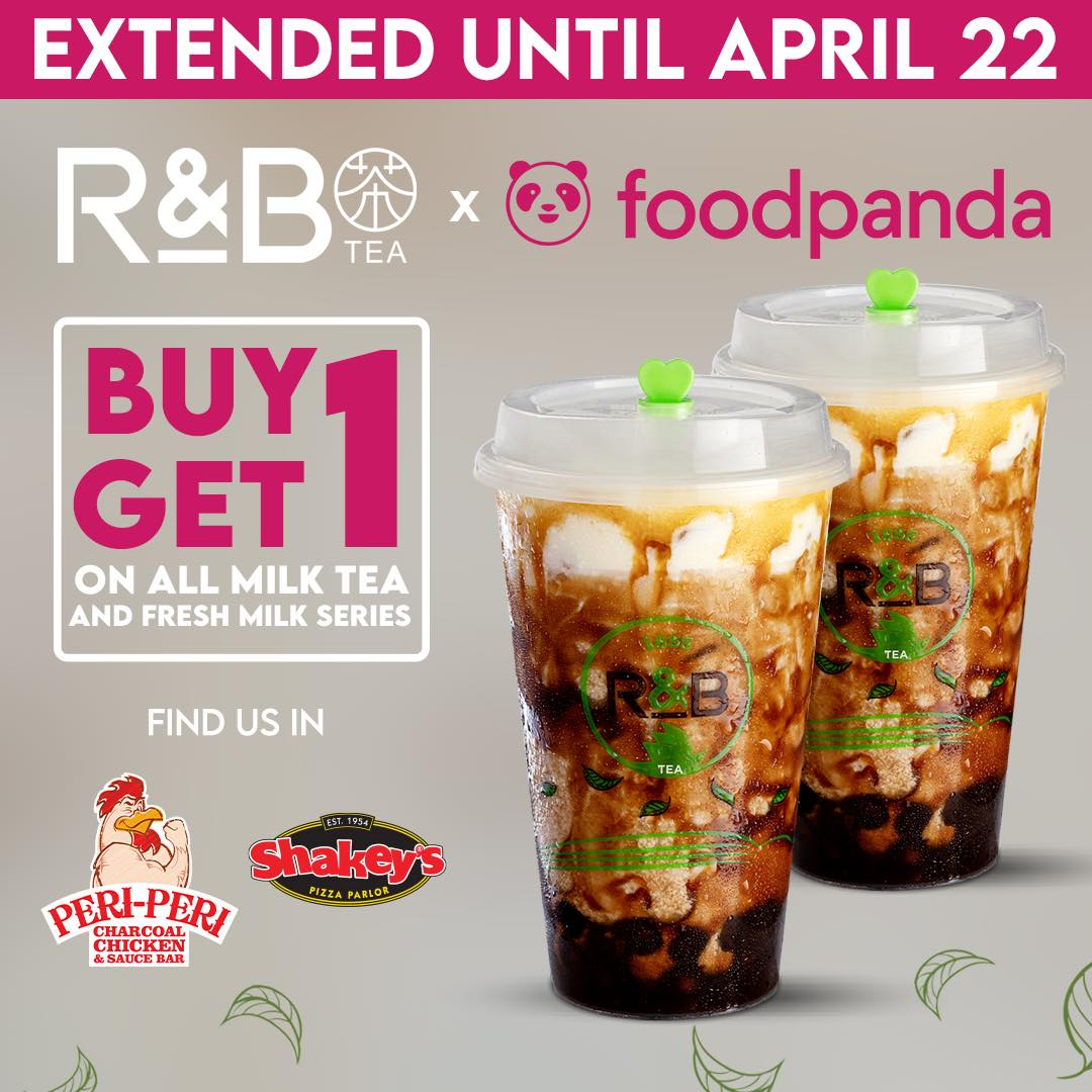 R&B Tea Buy 1 Take 1 Promo on FoodPanda Extended Until April 22